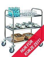 Tablecraft Servierwagen 82 x 50 cm 3-Etagen Edelstahl Silber
